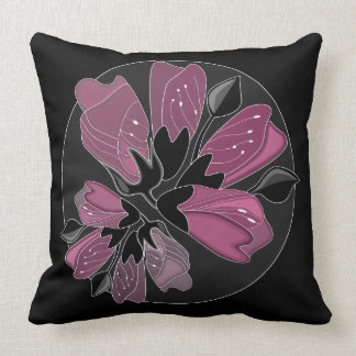 Art nouveau black and dusty pink floral print throw pillow