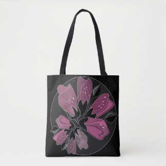Art nouveau black and dusty pink floral print tote bag