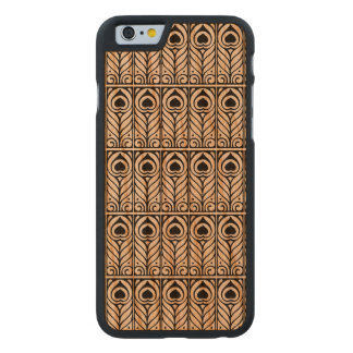 Art Nouveau Black & White Peacock Feather Design Carved® Cherry iPhone 6 Case