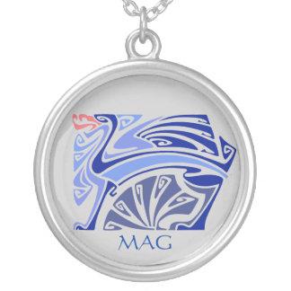Art nouveau blue dragon with monogram silver plated necklace
