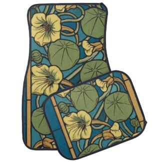 Art Nouveau Blue Flower Pattern Car Mat
