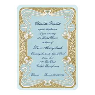 Art Nouveau Blue & Gold Bridal Shower Card