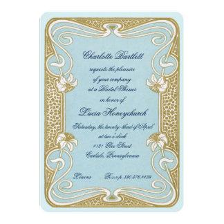 Art Nouveau Blue & Gold Bridal Shower Card