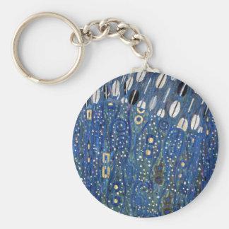 Art Nouveau Blue Gold Gustav Klimt Pattern Keychain