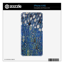 Art Nouveau Blue Gold Gustav Klimt Pattern Skin For iPhone 4