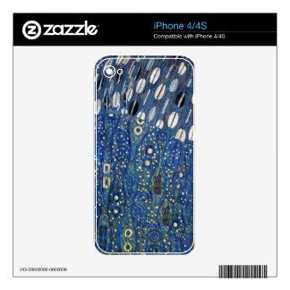 Art Nouveau Blue Gold Gustav Klimt Pattern Skin For iPhone 4