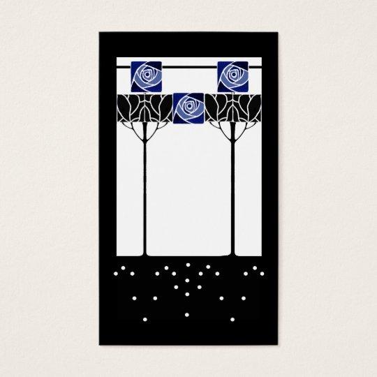 Art nouveau blue roses business card