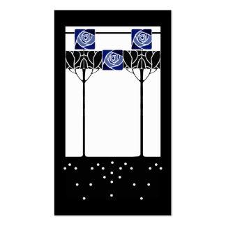 Art nouveau blue roses business card template