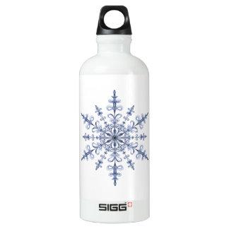 Art Nouveau Blue Snowflake Design on White Water Bottle