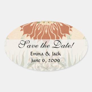 art nouveau bold floral decorative pattern oval sticker