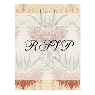 art nouveau bold floral decorative pattern post card