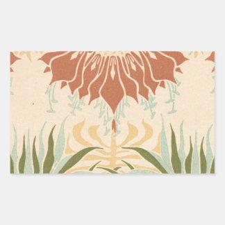 art nouveau bold floral decorative pattern rectangular sticker