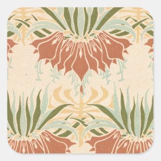art nouveau bold floral decorative pattern square sticker
