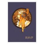 Art Nouveau Bride Wedding RSVP Card Personalized Invitations