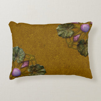 Art Nouveau Bronze and Amethyst Lily Pad Companion Accent Pillow