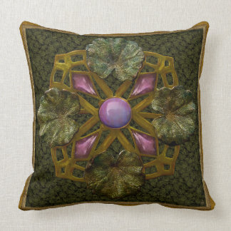 Art Nouveau Bronze and Amethyst Lily Pad Throw Pillows