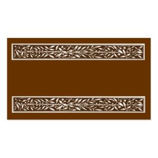 Art nouveau brown foliage panel business card templates