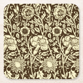 Art Nouveau Carnation Damask, Brown and Cream Square Paper Coaster