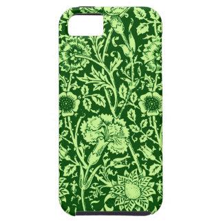 Art Nouveau Carnation Damask, Forest Green iPhone SE/5/5s Case
