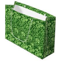 Art Nouveau Carnation Damask, Forest Green Large Gift Bag