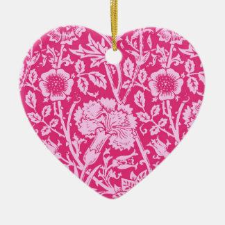 Art Nouveau Carnation Damask, Fuchsia Pink Ceramic Ornament