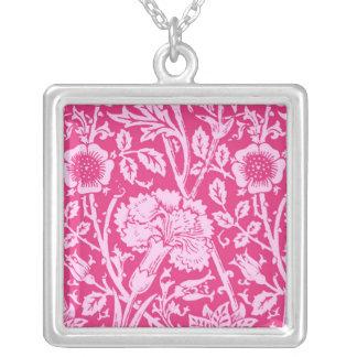 Art Nouveau Carnation Damask, Fuchsia Pink Square Pendant Necklace