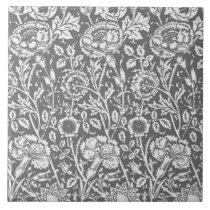 Art Nouveau Carnation Damask, Gray / Grey Tile