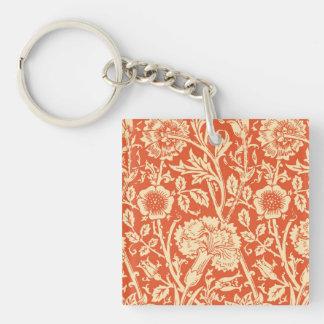 Art Nouveau Carnation Damask, Mandarin Orange Keychain