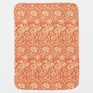 Art Nouveau Carnation Damask, Mandarin Orange Receiving Blanket