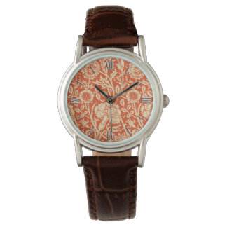 Art Nouveau Carnation Damask, Mandarin Orange Watch