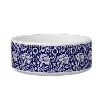 Art Nouveau Carnation Damask, Navy and White Bowl