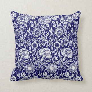 Art Nouveau Carnation Damask, Navy and White Throw Pillow