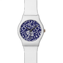 Art Nouveau Carnation Damask, Navy and White Watch