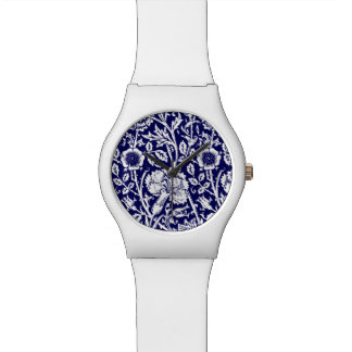 Art Nouveau Carnation Damask, Navy and White Watches