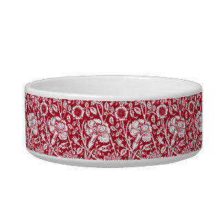 Art Nouveau Carnation Damask, Red and White Bowl