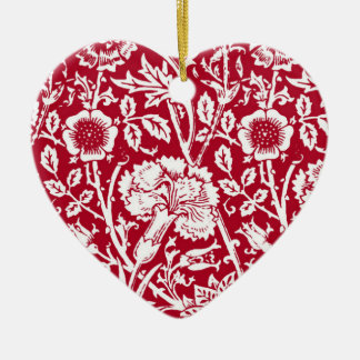 Art Nouveau Carnation Damask, Red and White Ceramic Ornament