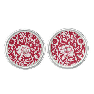 Art Nouveau Carnation Damask, Red and White Cufflinks
