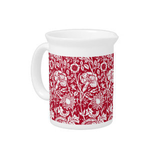 Art Nouveau Carnation Damask, Red and White Drink Pitchers