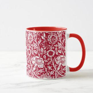 Art Nouveau Carnation Damask, Red and White Mug