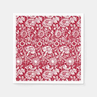 Art Nouveau Carnation Damask, Red and White Napkin