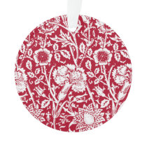 Art Nouveau Carnation Damask, Red and White Ornament