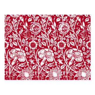 Art Nouveau Carnation Damask, Red and White Postcard