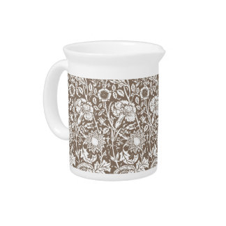 Art Nouveau Carnation Damask, Taupe and White Pitchers