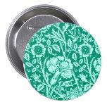 Art Nouveau Carnation Damask, Turquoise Button