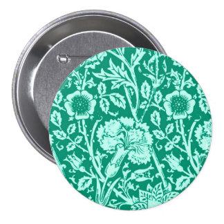 Art Nouveau Carnation Damask, Turquoise Pinback Buttons