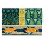 Art Nouveau Cats and Flowers Card