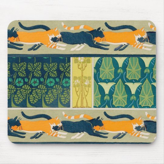 Art Nouveau Cats and Flowers Mouse Pad