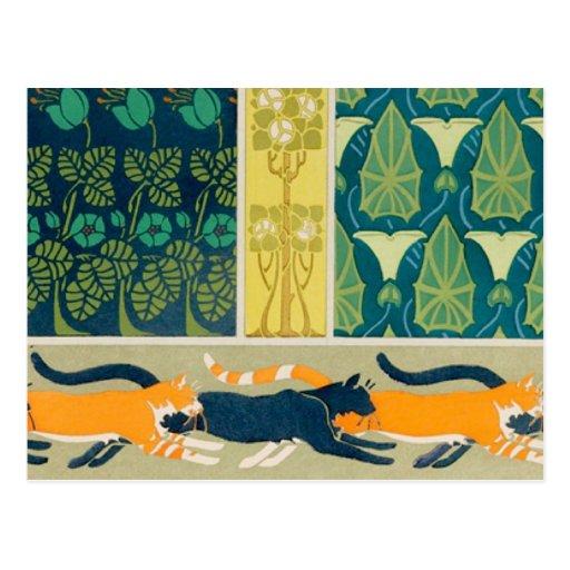 Art Nouveau Cats and Flowers Postcards