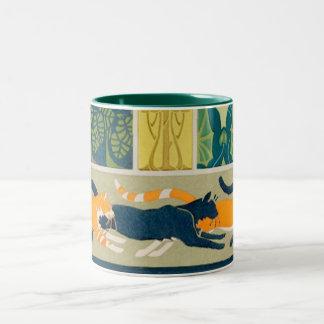 Art Nouveau Cats and Flowers Two-Tone Coffee Mug
