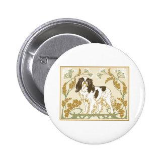 Art Nouveau Cavalier Spaniel Illustration Pinback Buttons